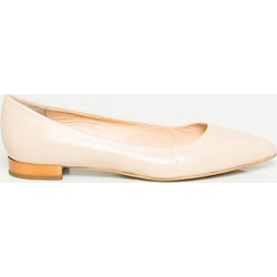 Le Chateau Womens - Italian-Made Leather Pointy Toe Ballerina Shoes in Nude Size 8