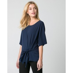 Le Chateau Womens - Crepe de Chine Scoop Neck Top in Navy Size XS Polyester