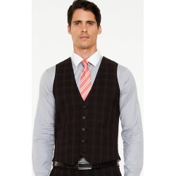 Le Chateau Mens - Check Contemporary Fit Vest in Black/Grey Size Small Polyester found on Bargain Bro India from Le Chateau Stores for $29.99