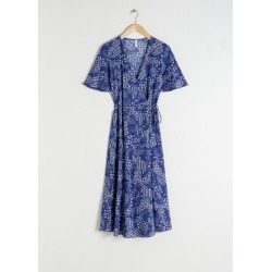 Ruffle Sleeve Cotton Wrap Dress - Blue found on Bargain Bro UK from & other stories