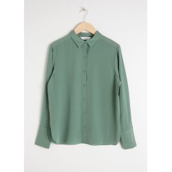 Silk Button Up Blouse - Green