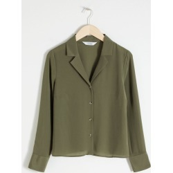 V-Cut Silk Button Up Blouse - Green