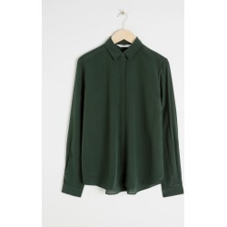 Straight Fit Silk Shirt - Green found on Bargain Bro UK from & other stories