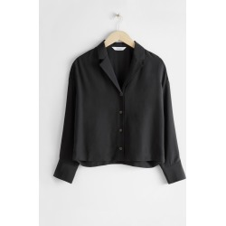 Side Slit Button Up Blouse - Black