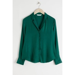 V-Neck Button Up Blouse - Green