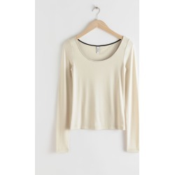 Scoop Neck Lyocell Stretch Top - Beige