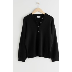 Oversized Button Up Wool Blend Sweater - Black found on Bargain Bro UK from & other stories