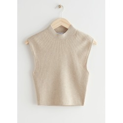 Sleeveless Mock Neck Rib Top - White found on Bargain Bro UK from & other stories