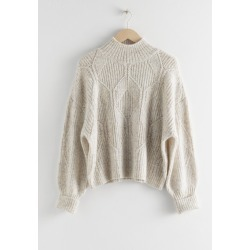 Boxy Cable Knit Sweater - White found on Bargain Bro UK from & other stories