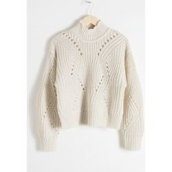 Mock Neck Cable Knit Sweater - White found on Bargain Bro UK from & other stories