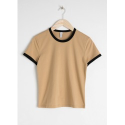 Coloured Ringer Tee - Beige