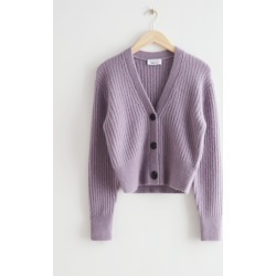 Cropped Ribbed Alpaca Blend Cardigan - Purple found on Bargain Bro UK from & other stories