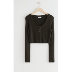 Fitted Cropped Knit Cardigan - Brown found on Bargain Bro UK from & other stories