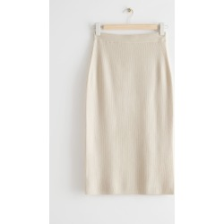 Fitted Knitted Pencil Midi Skirt - Beige found on Bargain Bro UK from & other stories