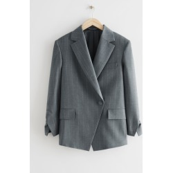 Oversized Asymmetric Pinstripe Blazer - Grey found on Bargain Bro UK from & other stories