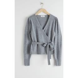 Wool Alpaca Blend Wrap Cardigan - Grey