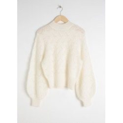 Eyelet Knit Wool Blend Sweater - White found on Bargain Bro UK from & other stories