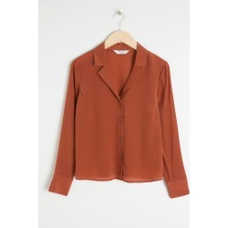 V-Cut Silk Button Up Blouse - Orange