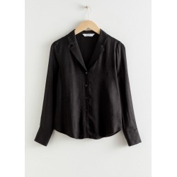 V-Neck Button Up Blouse - Black