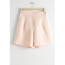 High Waisted Linen Blend Shorts - Orange found on Bargain Bro UK from & other stories