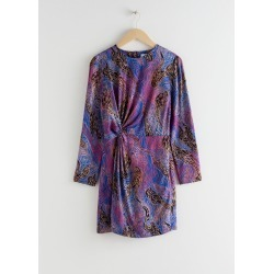 Twist Knot Snake Jacquard Mini Dress - Blue found on Bargain Bro UK from & other stories