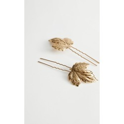 Embossed Leaf Pendant Hair Pins - Gold found on Bargain Bro UK from & other stories