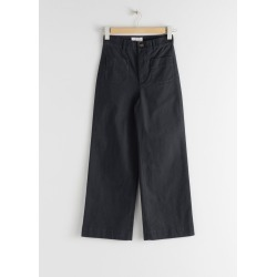 High Waisted Twill Trousers - Blue found on Bargain Bro UK from & other stories