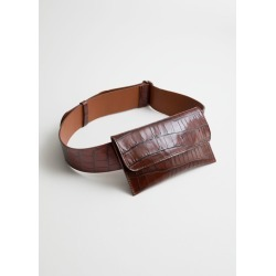 Crocodile Embossed Leather Belt Bag - Beige found on Bargain Bro UK from & other stories