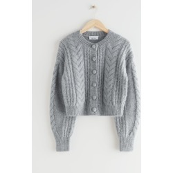 Cropped Cable Knit Cardigan - Grey found on Bargain Bro UK from & other stories