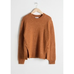Cable Slit Wool Blend Sweater - Orange found on Bargain Bro UK from & other stories