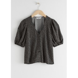 Puff Sleeve Button Up Blouse - Black found on Bargain Bro UK from & other stories