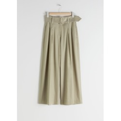 High Waisted Belted Flare Trousers - Beige found on Bargain Bro UK from & other stories