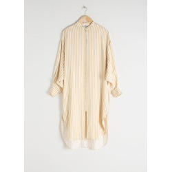 Striped Button Up Kaftan - Beige
