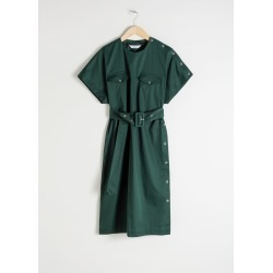 Belted Cotton Workwear Dress - Green found on MODAPINS from & other stories for USD $37.41