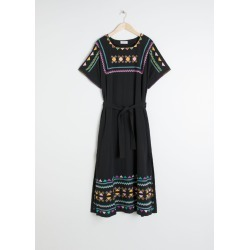 Embroidered Belted Kaftan Dress - Black found on MODAPINS from & other stories for USD $116.86