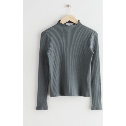 Fitted Frill Neck Rib Top - Grey found on Bargain Bro UK from & other stories