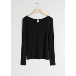 V-Cut Stretch Long Sleeve T-Shirt - Black found on Bargain Bro UK from & other stories