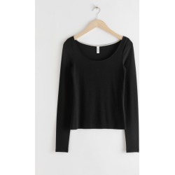 Scoop Neck Lyocell Stretch Top - Black