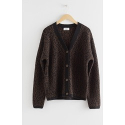 Leo Jacquard Wool Blend Cardigan - Black found on Bargain Bro UK from & other stories