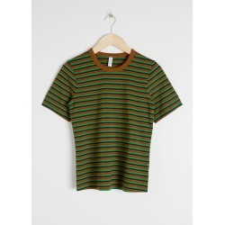 Cotton Striped Ringer Tee - Green