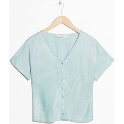 Micro Dot Button Up Blouse - Turquoise