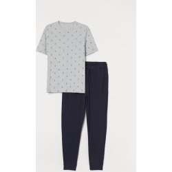 H & M - Pajama T-shirt and Pants - Gray