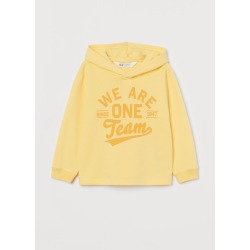 H & M - Printed Hoodie - Yellow found on Bargain Bro from H&M (US) for USD $7.59