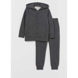 H & M - Hooded Jacket and Pants - Gray