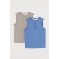 H & M - 2-pack Tank Tops - Blue found on Bargain Bro from H&M (US) for USD $11.39