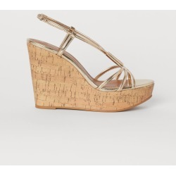 H & M - Wedge-heeled Sandals - Gold