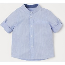 H & M - Band-collar Shirt - Blue found on Bargain Bro India from H&M (US) for $9.99