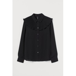 H & M - Pleated-layer Shirt - Black found on Bargain Bro India from H&M (US) for $24.99