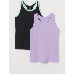 H & M - 2-pack Sports Tank Tops - Purple found on Bargain Bro from H&M (US) for USD $15.19