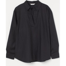 H & M - Linen-blend Shirt - Black found on Bargain Bro India from H&M (US) for $29.99